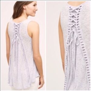 Akemi + Kin Purple Heathered Tie Back Tank Top